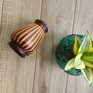 Vintage Wicker Rattan Bamboo Vase